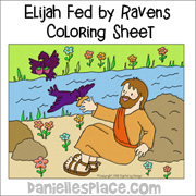 Elijah Fed by the Ravens Coloring Sheet