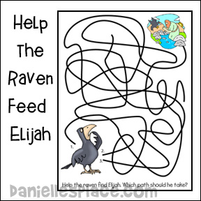 Help the raven feed Elijah activity sheet