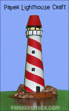 Paper Lighthouse Craft from www.daniellesplace.com