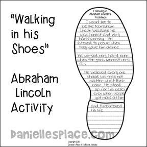 """Walking in his Shoes"" Abraham Lincolm Activity from www.daniellesplace.com"