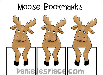Moose Bookmarks - Color and Cut out
