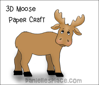 3D Moose Standup Craft for kids