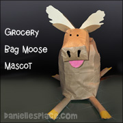 Moose Mascot Paper Grocery Bag Craft