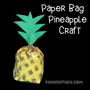 Sunday school paper bag pineappple review activity and Bible craft from www.daniellesplace.com