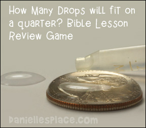 How many raindrops can fit on a quarter Bible Lesson Review Game