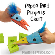 Bird Hand Puppet Craft from www.daniellesplace.com