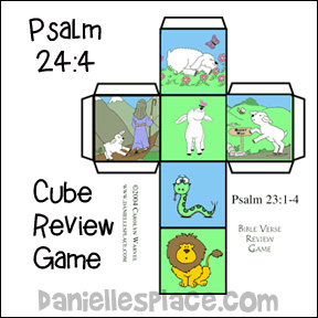 "Psalm 23:4 - ""I will fear no evil"" Bible Lesson Review Game using a Cube"
