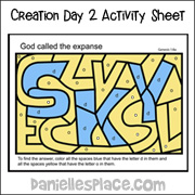 Sky Activity Sheet for Creation Day 2 Children's Sermon