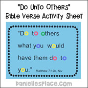 """Do unto others"" Bible verse activity sheet"