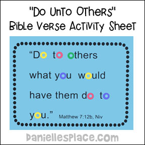 Do Unto Others Bible Verse Activity Sheet