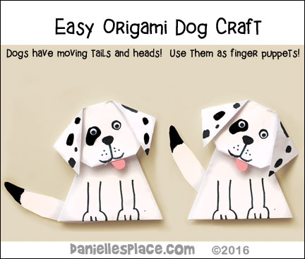 Easy Origami Dog for kids - adorable. Turn them into your favorite breed. Use them as puppets to act out your favorite dog story