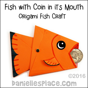 Origami Fish with coin in it's Mouth for Peter Finds a coin in the Fishes Mouth Bible Lesson