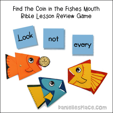 """Where's the Coin?"" Bible Lesson Review Game with Origami Fish"