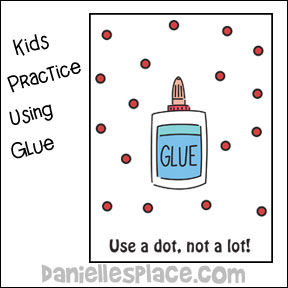 Children practice using glue activity sheet from www.daniellesplace.com