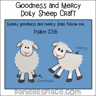 Surely Goodness and Mercy Shall Follow Me Bible Craft for Psalm 23:6 Sunday School Lesson