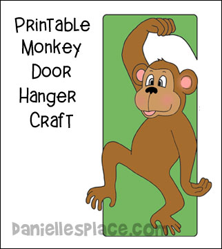 Monkey Craft - Monkey Door Hanger Printable Craft for Children