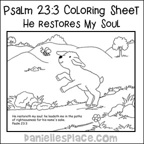 Psalm 23 3 Sample Lesson David Coloring Page