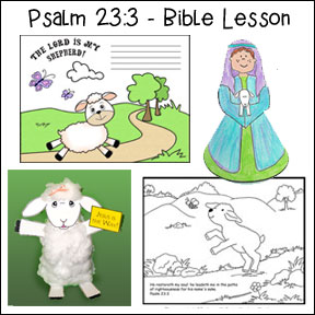 Psalm 23:3 - Bible Lesson with crafts and Bible Games for Children from www.daniellesplace.com