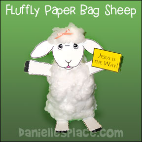 Fluffy Paper Bag Sheep Craft for Psalm 23:3 Bible Lesson