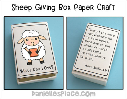 "Sheep Giving Box Craft for ""Sheep or Goat?"" Bible Lesson for Children's Ministry"