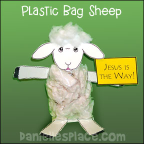 Plastic Bag Sheep Craft for Psalms 23:3 Bible Lesson