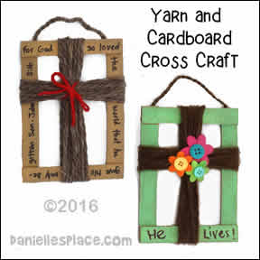 Cardboard and Yarn Cross Craft from www.daniellesplace.com
