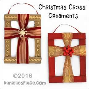 christmas cross ornament craft for childrens ministry made from cardboard and christmas ribbon from daniellesplace