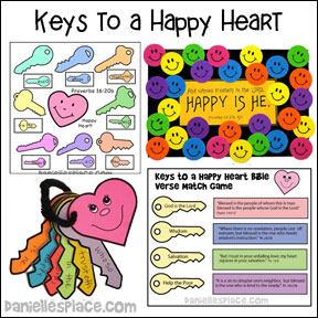 Keys to a Happy Heart Bible Lesson from www.daniellesplace.com