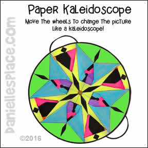 Paper Kaleidoscope Craft for Kids. Children turn the wheel to change the shapes.