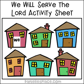 We Will Serve the Lord Memory Verse Coloring Sheet Activity