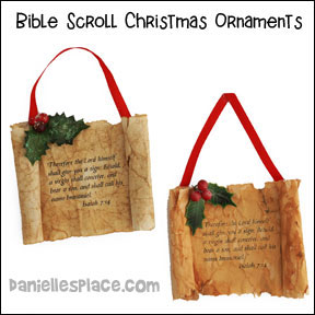 Christmas Scroll Ornmaent Craft for Isaiah 7:14 from www.daniellesplace.com