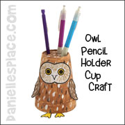 Owl Pencil Holder Cup Craft from www.daniellesplace.com