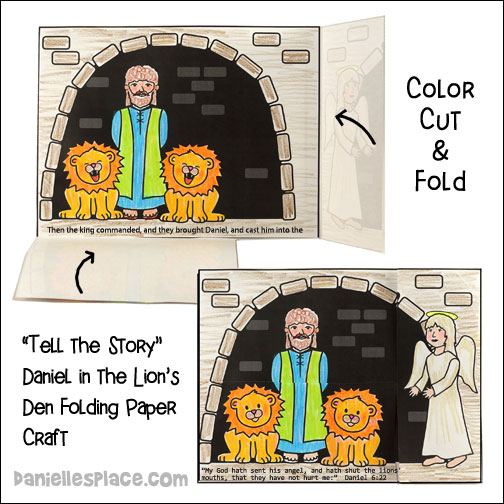 """Tell the Story"" Daniel in the Lion's Den Folding Bible Craft for Sunday School from www.daniellesplace.com"