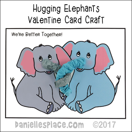 Hugging Elephants Valentine Card Craft from www.daniellesplace.com