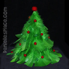Feather Christmas Tree Craft for Kids