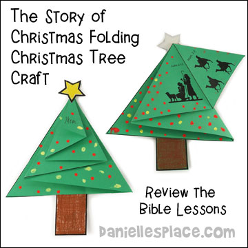 the story of christmas folding christmas tree card craft for sunday school from www
