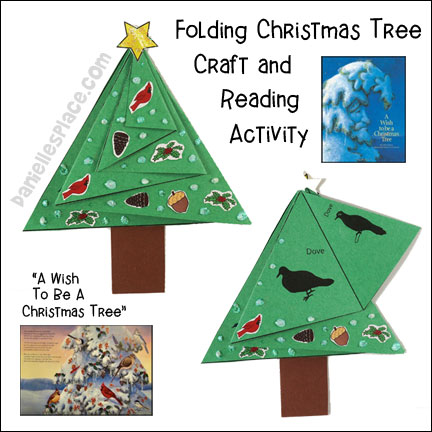 Folding Christmas Tree Craft and Reading Activity