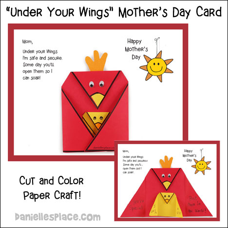 """Under Your Wings"" Mother's Day Card Craft for Children from www.daniellesplace.com"