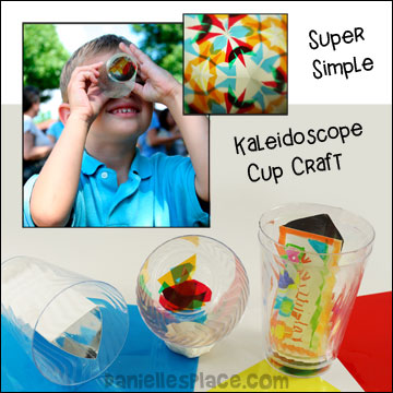 Super Simple Kaleidoscope Cup Craft for Children - Experiment with shapes and colors from www.daniellesplace.com