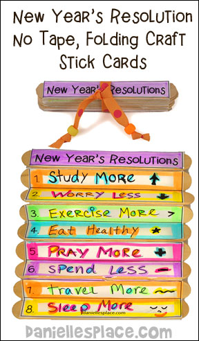 New Year's Resolutions, No Tape, Folding Craft Stick Banner Craft from www.daniellesplace.com ©2012