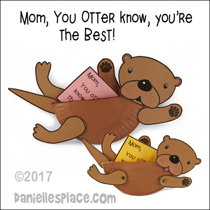 """You Otter know, you're the best!"" Otter Mom and Baby Paper Plate Craft"