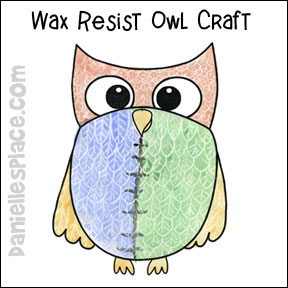 Owl Wax Resist Craft for Kids from www.daniellesplace.com
