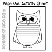 Owl Writing Activity Sheet from www.daniellesplace.com