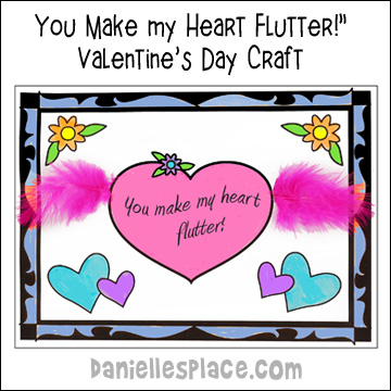 """You Make my Heart Flutter"" Valentine's Day Craft from www.daniellesplace.com"