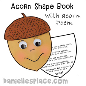 Acorn Shape Book with Poem from www.daniellesplace.com