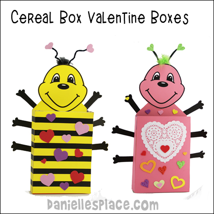 Drinking Straw Crafts and Activities for Kids – Cereal Box Valentine Card Holder