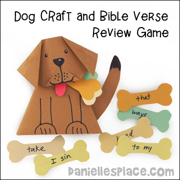 """Doggy, Doggy, Where's Your Bone"" Bible Verse Review Game and Craft from www.daniellesplace.com"