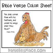 Under his Wings Bible Verse Coloring Sheets