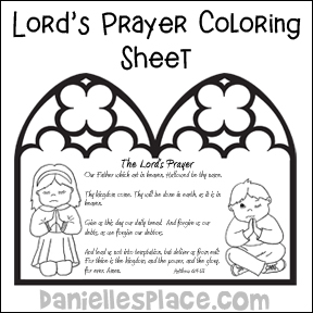 the lords prayer bible coloring sheet from wwwdaniellesplacecom