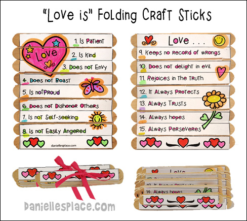 Love Is . . . Folding Craft Stick Craft from www.daniellesplace.com